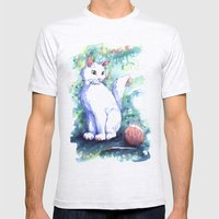 Playing Kitty Mens Fitted Tee Ash Grey SMALL
