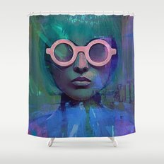 Pink Glasses girl Shower Curtain