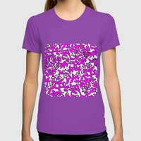 Floral Pattern Pink Womens Fitted Tee Ultraviolet SMALL
