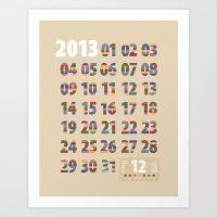 Minimalist Calendar 2013… Art Print