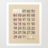 Minimalist Calendar 2013 (Light version) Art Print