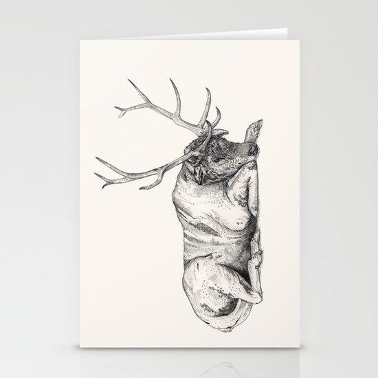 Stag // Graphite Stationery Card