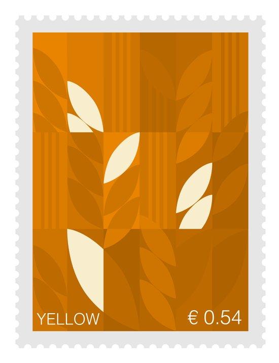 Yellow Stamp Art Print