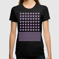 Heart Stripes Orchid Womens Fitted Tee Tri-Black SMALL