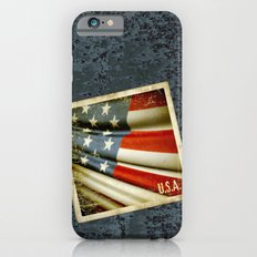 Grunge sticker of United States flag iPhone 6s Slim Case