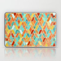 Tangerine & Turquoise Geometric Tile Pattern Laptop & iPad Skin