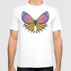 Butterfly White Mens Fitted Tee SMALL