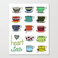 I Heart Tea Canvas Print