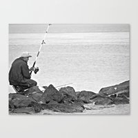 Fishing Alone Canvas Print