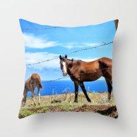 Horses against a blue sky Throw Pillow