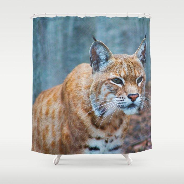 Still Bobcat Shower Curtain By Shelby Corbella