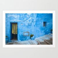 Moroccan House with Blue Wall and Green Curtain. Art Print