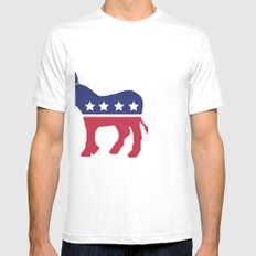 Wheres the Party at Democrat Mens Fitted Tee White SMALL