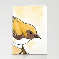 Yellow Blue Warbler Stationery Cards