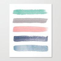 Colored Watercolor Brush Strokes Canvas Print