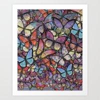 butterflies aflutter colorful version Art Print