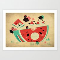 Watermelon Playground Art Print