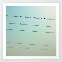 Birds On Wires II Art Print