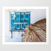 Distressed Blue Wooden S… Art Print