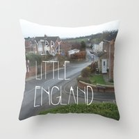Merry Little England Throw Pillow