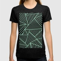 Abstract Lines Close Up Mint Womens Fitted Tee Tri-Black SMALL