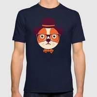 Hipster Dog Mens Fitted Tee Navy SMALL