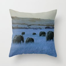 Elephant Herd in Blue Throw Pillow