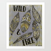 Wild & Free Feathers. Yellow & Grey Edition Art Print