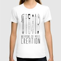 white T-shirts featuring weapons of mass creation by Bianca Green