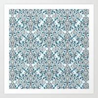 Damask Nature Blue Art Print