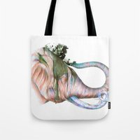 Elephant Shower In Red Tote Bag