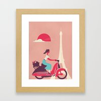 French girl on a Scooter Framed Art Print