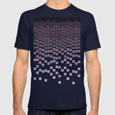 Pixel Rain Mens Fitted Tee Navy SMALL