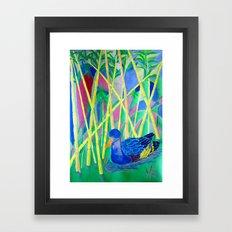 La Papera nello Stagno al Tramonto (Duck in a Pond at Sunset) Framed Art Print