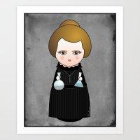 Kokeshi Marie Curie Art Print