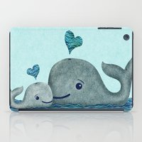 Whale Mom and Baby with Hearts iPad Case