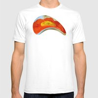 Orange Poppy Flower on a Warm Spring Breeze -- Bright Cheerful Botanical Mens Fitted Tee White SMALL