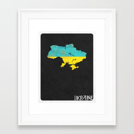 Ukraine Minimalist Vintage Map with Flag Framed Art Print
