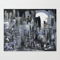 Robot In The City Canvas Print