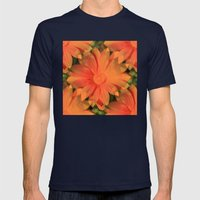 Orange Daisy Mens Fitted Tee Navy SMALL