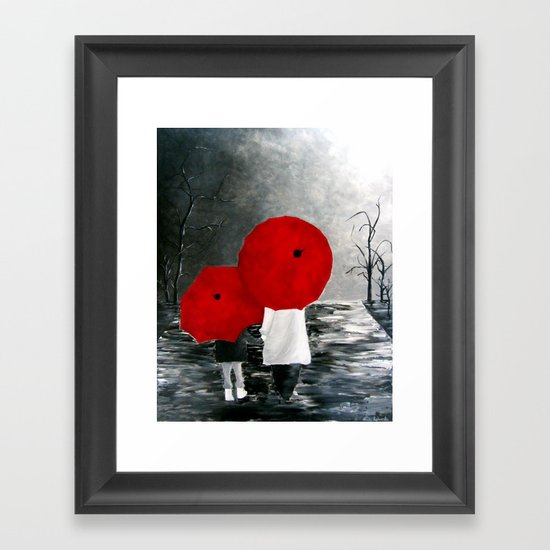 Black White Red Mother And Child With Umbrella Print Of