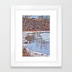 Snowy Riverbank Framed Art Print