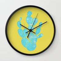 Linocut Cacti #1 Desert Blue Wall Clock