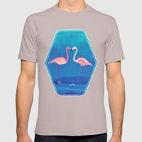 Flamingos in Love Mens Fitted Tee Cinder SMALL
