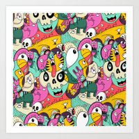 Scribble Guys Pattern Art Print