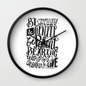BE GENTLE BE PATIENT Wall Clock