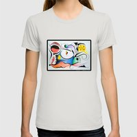 Aurora boreal Womens Fitted Tee Silver SMALL