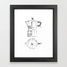 Coffee pot blueprint sketch  Framed Art Print