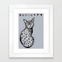 Lunar Neko Framed Art Print
