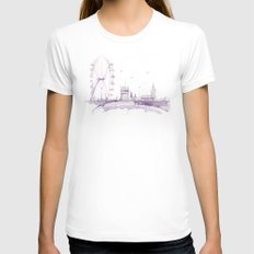 Watercolor landscape illustration_London Eye Womens Fitted Tee White SMALL